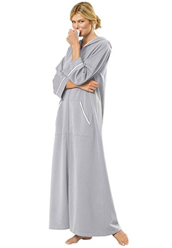 Dreams & Co. Women's Plus Size Hooded French Terry Long Robe Heather Grey,1X (Womens Plus Size Robes)