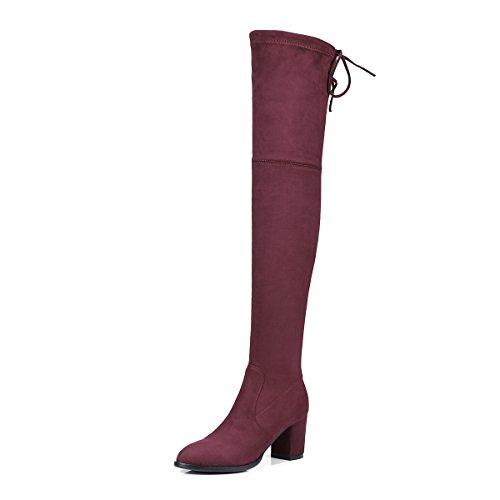 Aiyoumei Dames Suède Mode Veterschoenen Blokhak Herfst Winter Stevig Over De Knie Elastische Stof Laarzen Rood