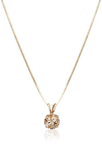 14k Rose Gold Round Morganite Solitaire Pendant Necklace, 18