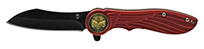 Eagle Feather Look Spring Assisted Opening Knife Pocket Folder Red Handle