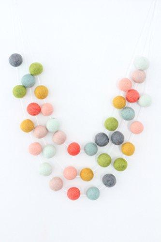 - Garden Party Handmade Felt Ball Garland by Sheep Farm Felt, Multicolored Pom Pom Garland- Pastel Mint, Apricot, Mustard, Green, Gray, Mint, Coral, Blush 2.5 cm balls.