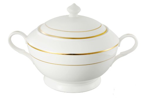 (Lorren Home Trends La Luna Collection Bone China Gold Design Soup Tureen with Lid)