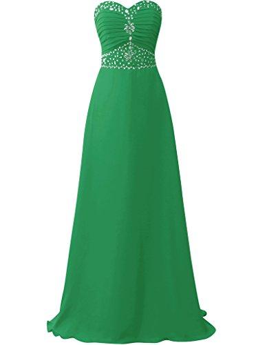 JAEDEN Sin tirantes Vestidos de baile largo Gasa Vestidos de dama de honor Vestido de fiesta Verde