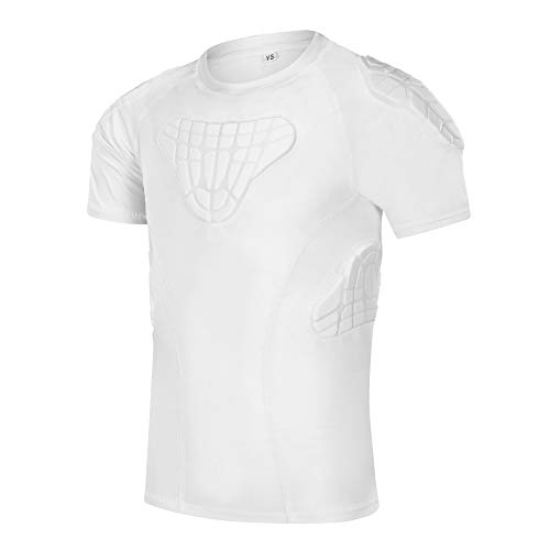 TUOYR Padded Shirt Youth Boys Padded Compression Sports Protective T-Shirt Rib Chest Protector Extreme Exercise (White Padded Shirt, Y-M(Chest 26.5inch~28.5inch))