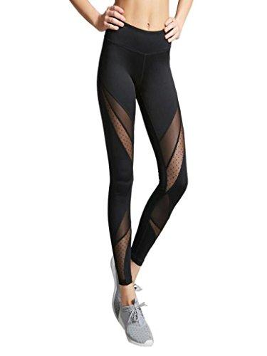 - Clearance Women Leggings, Neartime Slim Hight Waist Mesh Fitness Trousers Running Gym Stretch Sports Pencil Pants (M, Black)