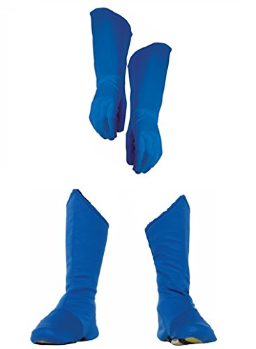 Child Superhero Blue Shoe Covers Boot Tops and Gauntlet Gloves Costume -