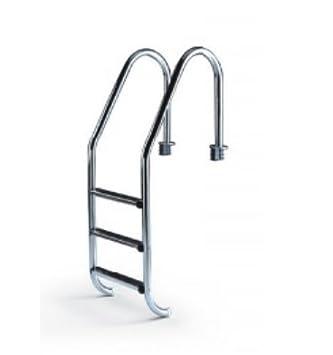 Escalera para piscina con pasamanos de 3 peldaños standard. Acero inoxidable: Amazon.es: Jardín