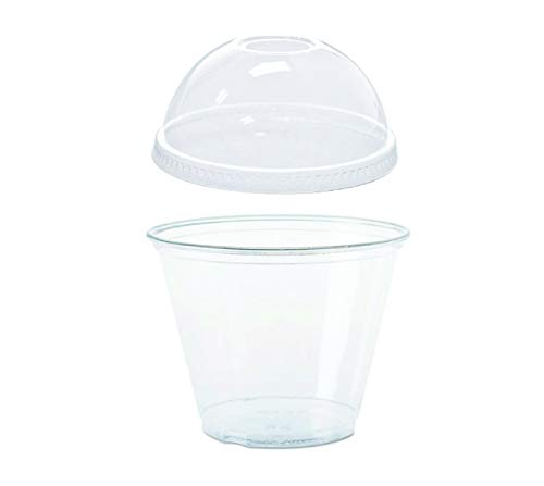 50 count Clear PET Plastic 9 oz Squat Cup and No-Hole Dome Lid, Parfait Cup w/Signature Party Picks