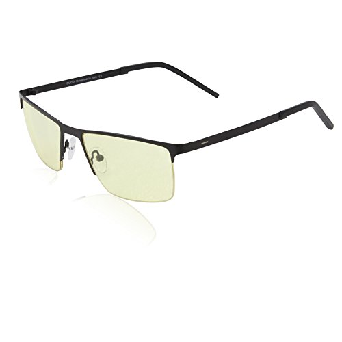 DUCO Optiks Semi Rimless Video Computer Gaming Glasses with Amber Lens Tint 30051 Black