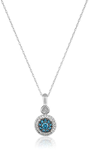 10k White Gold Cluster Heart Blue and White Diamond Pendant Necklace (1/4 cttw, I-J Color, I2-I3 Clarity)