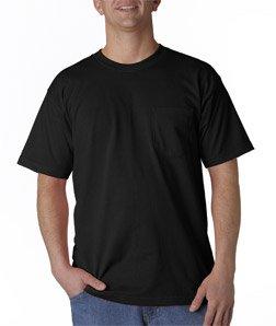 Bayside USA-Made Short Sleeve T-Shirt with a Pocket. 7100 Large Black ()