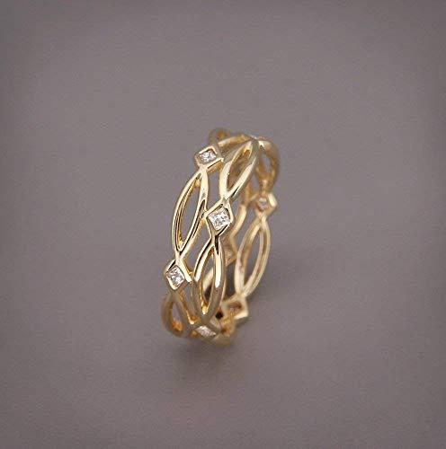   14k Gold Eternity Ring set with Diamonds   Handmade 14k gold Celtic wedding band set with brilliant diamonds   Bridal Ring