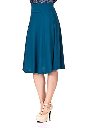 Dani's Choice Stretch High Waist A-line Flared Long Skirt (S, Turquoise) (Light Blue Pencil Skirt compare prices)