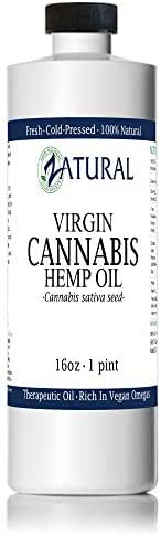 Hemp Oil Anti-Inflammatory_Pain Relief_100% Pure_Cold Pressed_High Vegan Omegas 3 & 6_No Fillers or Additives, Therapeutic Grade (16 Ounce)