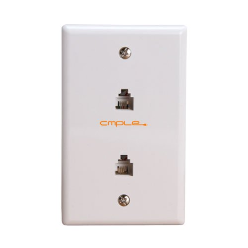 Cmple - Wall Plate Jacks 6P4C Double White 1081-463-N