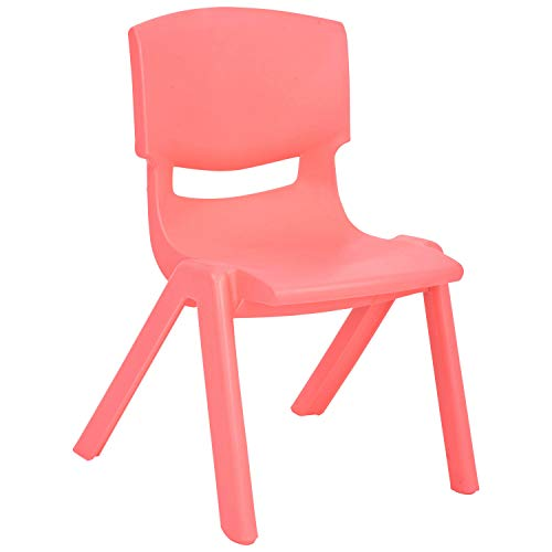 Day Care Chair - JOON Stackable Plastic Kids Learning Chairs, 20.8x12.5 Inches, The Perfect Chair for Playrooms, Schools, Daycares and Home (Coral)