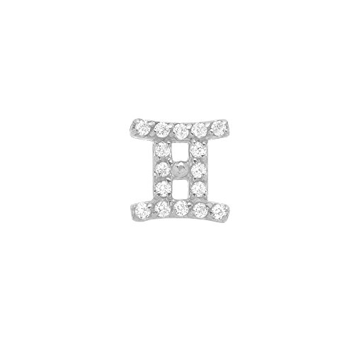 14k White Gold Brilliant Diamond Accented Gemini Zodiac Single Earring (Zodiac 14k Earrings)