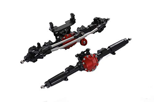 - RZXYL Aluminum Universal Alloy Front Axle and Rear Axle for 1:10 Axial SCX10 RC Model Crawler Car (Black)