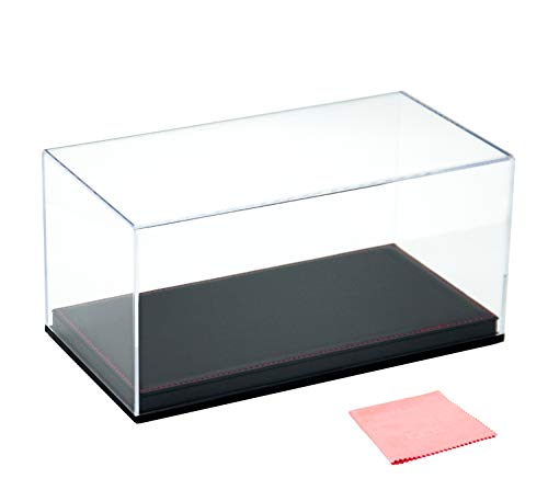 Combination of Life Acrylic Collectibles Countertop Display Case with Removable Riser Lift-Off Top & Black Leather Base(Stitched in Red)