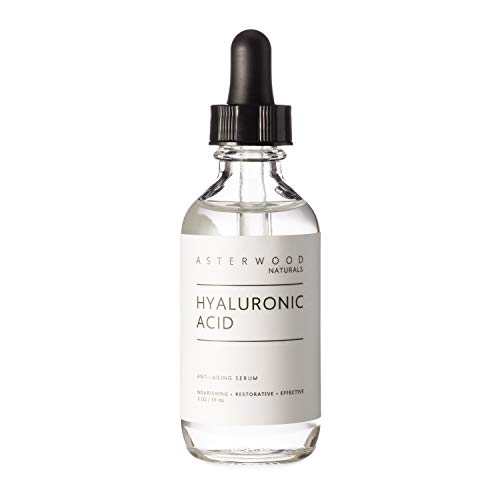 Hyaluronic Acid Serum 2 oz - 100% Pure Organic HA - Anti Aging Anti Wrinkle - Original Face Moisturizer for Dry Skin & Fine Lines - Leaves Skin Full & Plump ASTERWOOD NATURALS Dropper Bottle