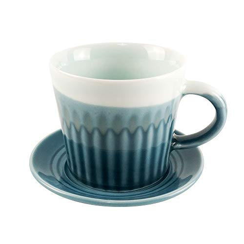 Ceramic Coffee Cups 8 oz and Saucers, Espresso Cafe for Wedding Party Wave Body Tea Set of 1 ()