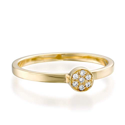 (1/20 ct Diamond Ring, Round Brilliant Cut in 14k Yellow Gold - Stackable Collection)