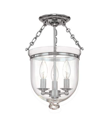 Hampton 3-Light Semi Flush - Polished Nickel Finish with Clear Glass Shade