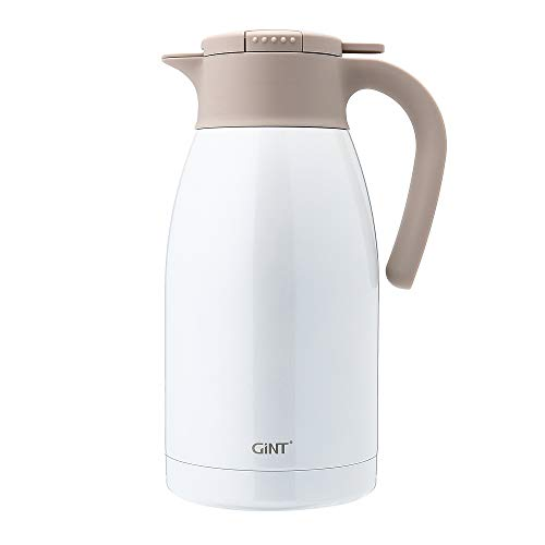 (GiNT Stainless Steel Thermal Coffee Carafe with Lid/Double Walled Vacuum Thermos / 12 Hour Heat Retention,1.9L, White)