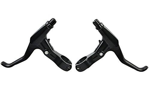 TOPCABIN 1 Pair Universal Full Aluminum Alloy Bicycle Brake Handle Mountain Road Bike Brake Lever 2.2cm Diameter (Black+Black) - Mountain Bike Brake Handle