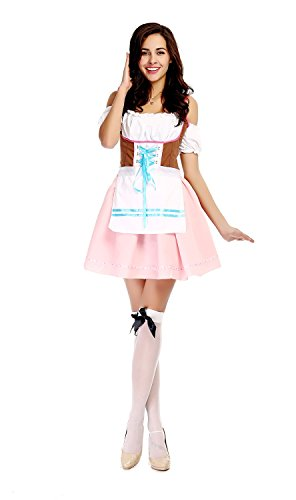 [Bulacker German Oktoberfest Maid Service Role Play Costume Set,Pink,One size] (Cute Easy Group Costumes Ideas)