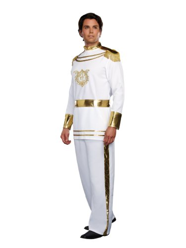 [Dreamgirl Men's Fairytale Prince Costume, White, Large] (Male Fairy Tale Costumes)