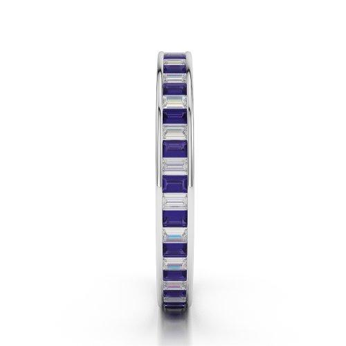 Or blanc 18carats 1.56CT G-H/VS Certifié Coupe ronde tanzanite et diamants Bague éternité Agdr-1138