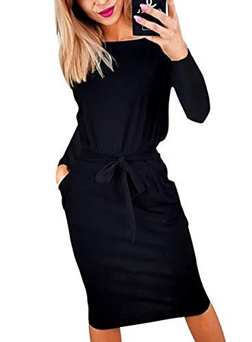 PRETTYGARDEN Women's 2018 Casual Long Sleeve Party Bodycon Sheath Belted Dress with Pockets (Y-Black, Medium)