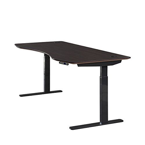 ApexDesk Elite Series 71' W Electric Height Adjustable Standing Desk (Memory Controller, 71' Walnut Top, Black Frame)
