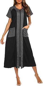 Ekouaer Housecoat Women's Short Sleeve Zipper Robe Long Nightgown Lougewear with Pockets S