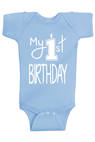 Reaxion Aiden's Corner Handmade 1st Birthday Baby Clothes - Baby Boy My First Birthday Bodysuits & Shirts (12 Months, Candle White Lt Blue)