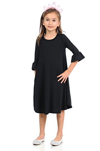 Honey Vanilla Girls' Bell Sleeve Trapeze Dress Easy Removable Label Large 9-10 Years Black -