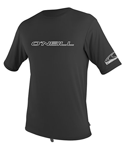 O'Neill Wetsuits UV Sun Protection Mens Basic Skins Short Sleeve Tee Sun Shirt Rash Guard, Black, - Mens Wetsuit