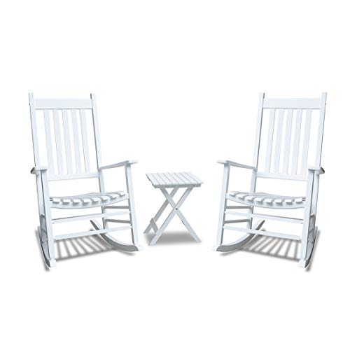 Rocking Chair Set - Caymus White Solid Hardwood Outdoor Rocking Chair Country Plantation Porch Rocker Provide Comfortable Seating on Patio or Deck Set of 3