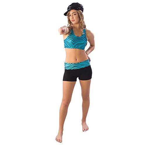 - Pizzazz Girls Turquoise Zebra Roll Down Waist Shorts Dance Cheer 14-16