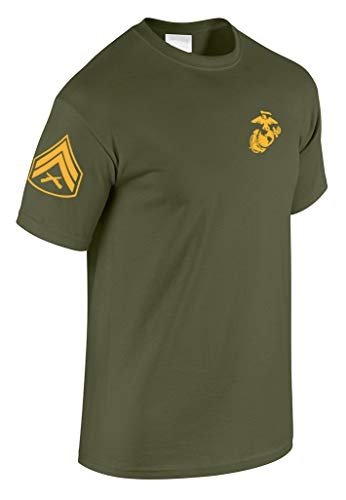 US Marine Corps Corporal T-Shirt w/ Chevron on Sleeve (Large, Military Green) ()