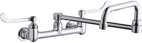 Elkay Foodservice LK940DS20L2H 8 Centerset Wall Mount Faucet with 8 Double Swing Spout and 2 Lever Handles
