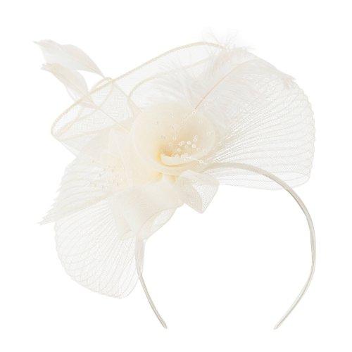Feather Flower Ruffle Fascinator Cream product image