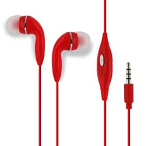 Red HandsFree EarPhone HeadPhones HeadSet With Mic For Pantech Burst P9070