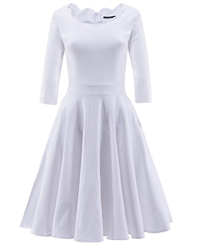 OUGES Womens 1950s Scalloped Neck Vintage Cocktail Dress,White,Medium