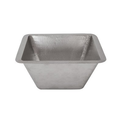 Premier Copper Products 15″ Square Hammered Copper Bar/Prep Sink in Nickel with 3.5″ Drain Size
