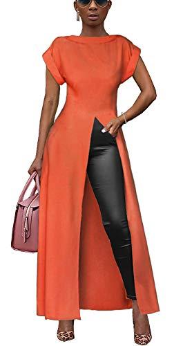 - Womens Short Sleeve High Low Front Split Long Shirt Maxi Dress Orange S