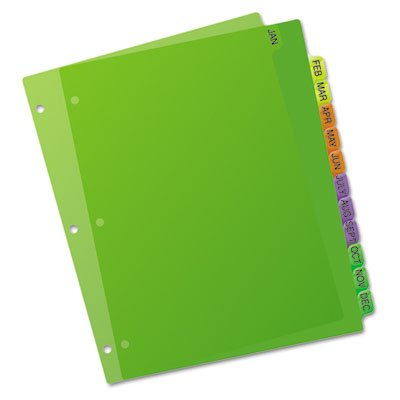 Preprinted Plastic Dividers, 11x8-1/2, Jan.-Dec., Assorted, Sold as 1 Set, 20PACK , Total 20 Set
