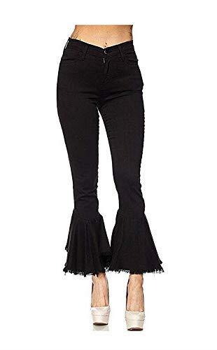 Women's Fashion Bell Bottom Pants High Waist Tassel Stretch Curvy Fit Jeans Black