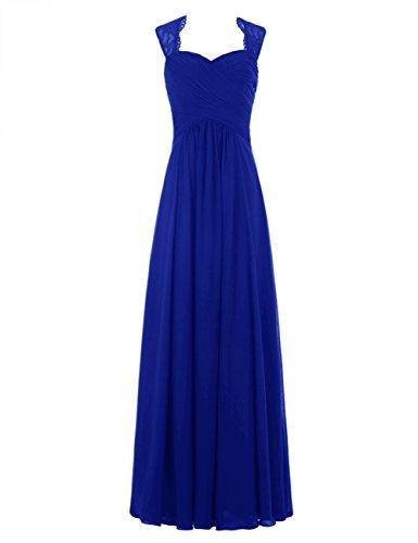 Dresses Chiffon Evening Gowns Royal Lace Bess Women's Long Formal Bridesmaid Blue Bridal IwxqgSpa